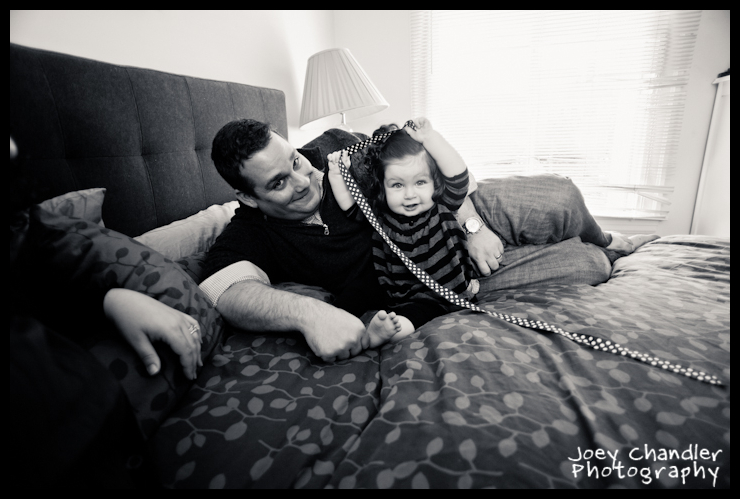 Father and baby playing in bed - San Francisco Baby Photographer