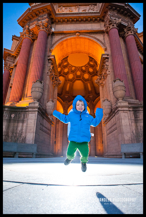 Boy Jumping for Joy at the Palace of Fine Arts - San Francisco Photographer Joey Chandler