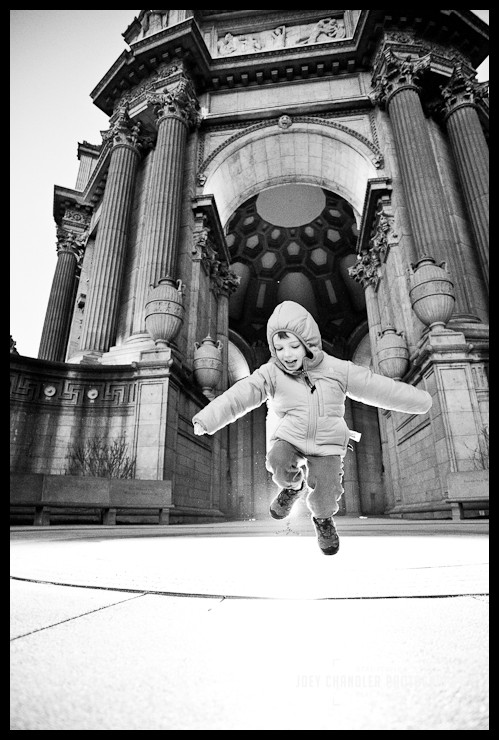 Boy Jumping at the Palace of Fine Arts at Sunrise - Palace of Fine Arts at Sunrise - San Francisco Photographer Joey Chandler