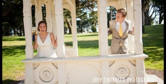 Couple playing in Sutro Heights Gazebo - San Francisco Wedding - Alysse and Cody