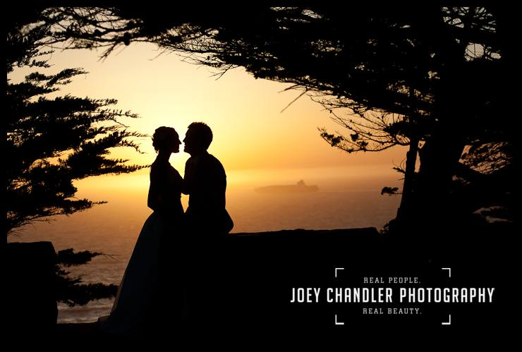Bride and groom kissing at sunset at Sutro Heights - San Francisco Wedding - Alysse and Cody