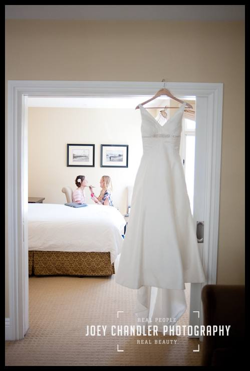 Wedding dress hanging in door way-San Francisco Wedding-Alysse and Cody