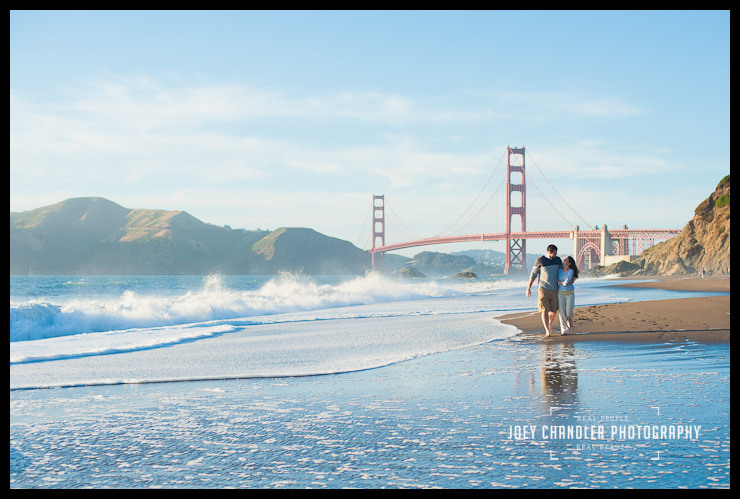 Classic enagagement photograph of couple walking at Baker Beach-7