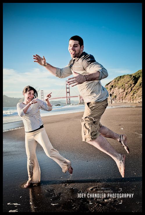 Couple jumping for enagement photographs in San Francisco-1