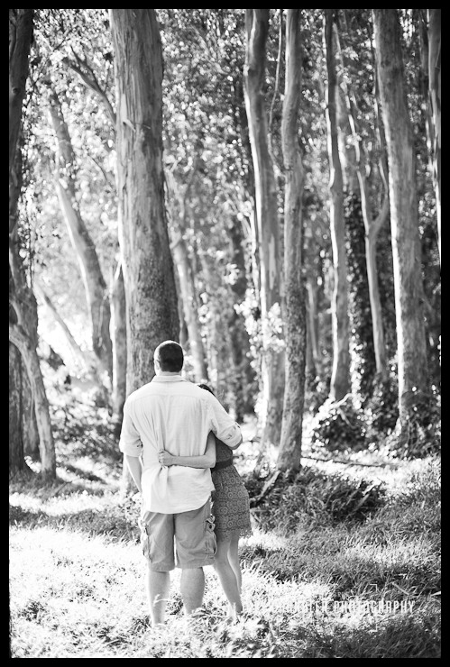 Engagement Photograph of hugging couple in Presidio trees