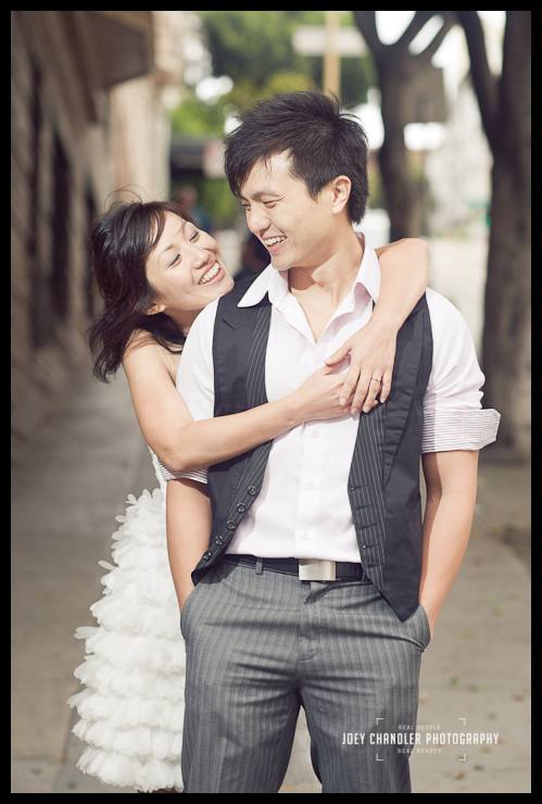 Couple hugging after engagement photographs in San Francisco