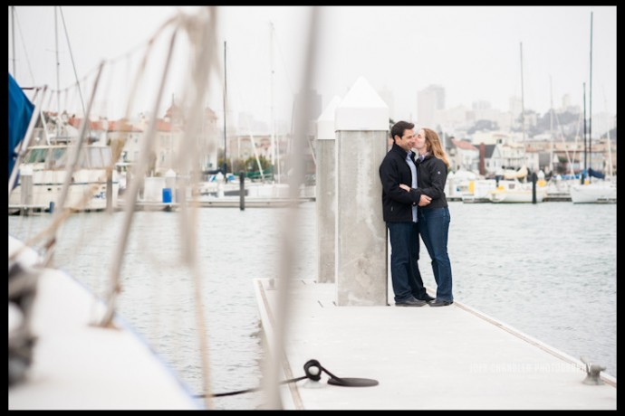 Engaged Couple kissing at St. Francis Yacht Club in San Francisco