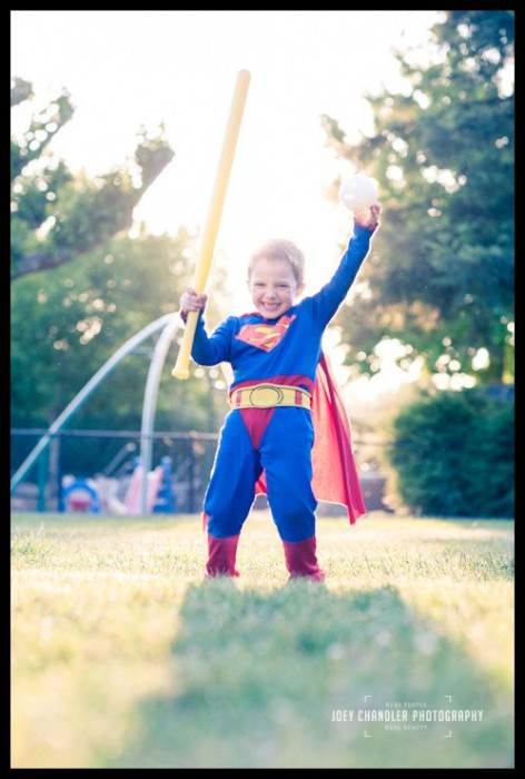 Boy dressed as superman at San Rafael Play Date and Potluck