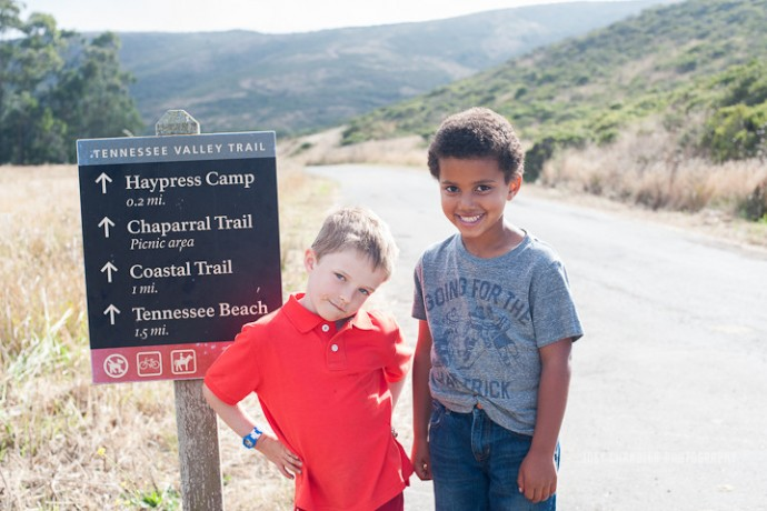 Two boys standing at the Tennessee Valley Trail Head